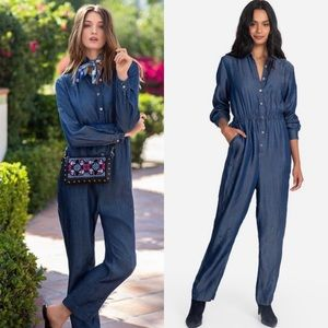 Johnny Was Workshop Chambray Halley Jumpsuit Large